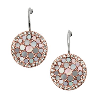 Ladies Fossil Two-Tone Steel and Rose Plate Mother of Pearl Disc Earrings JF01737791