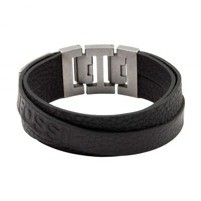 Fossil Heren & Leather Bracelet Verguld Zilver JF84818040