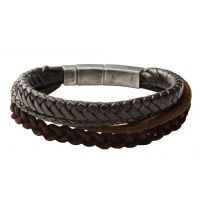 Mens Fossil Gunmetal PVD & Leather Bracelet JF85296040