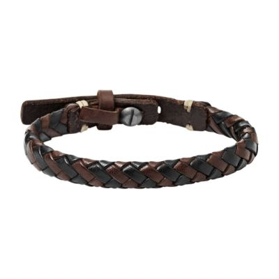 Fossil Heren & Leather Bracelet Roodkoper PVD JA5932716