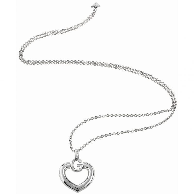 Ladies Guess Rhodium Plated Gisele Bold G Heart Necklace UBN83012