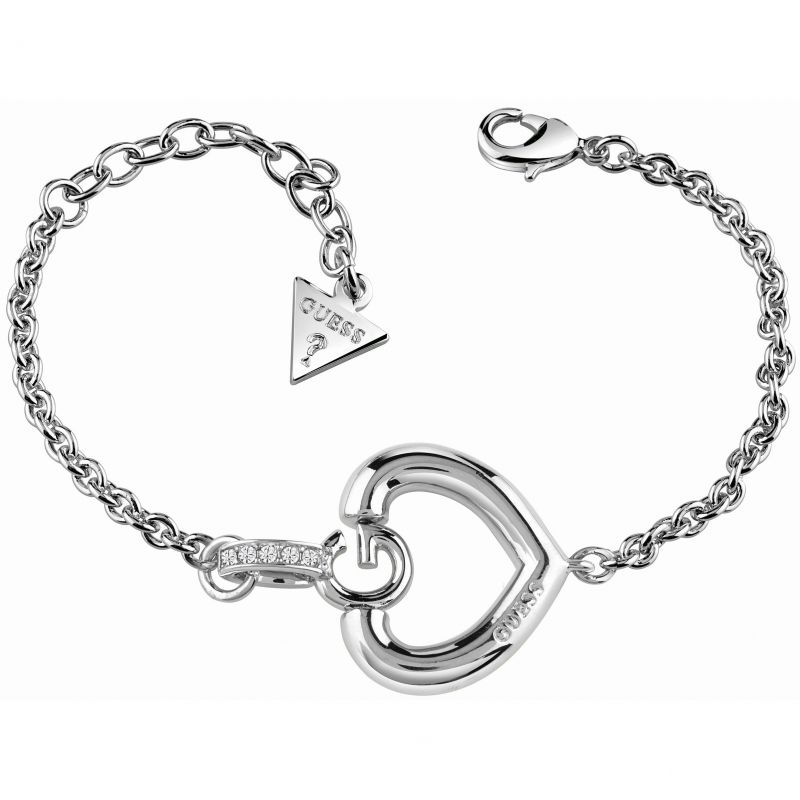 Image of  			   			  			   			  Ladies Guess Rhodium Plated Gisele Bold G Heart Bracelet