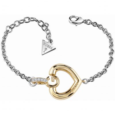 Ladies Guess Two-tone steel/gold plate Gisele Bold G Heart Bracelet UBB83007-L