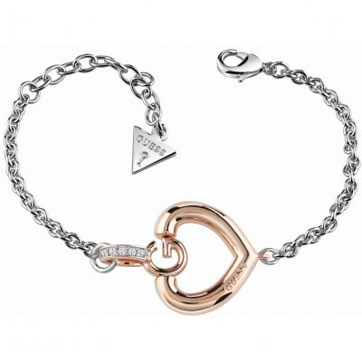 Ladies Guess Two-Tone Steel and Rose Plate Gisele Bold G Heart Bracelet UBB83008-L
