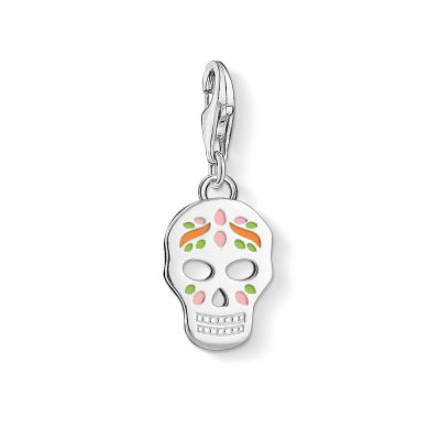 Thomas Sabo Dames Charm Club Sugar Skull Charm Sterling Zilver 1436-007-21