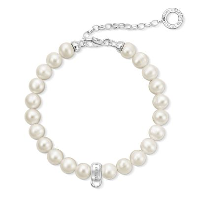 Thomas Sabo Dames Charm Club Cultured Pearl Bracelet Sterling Zilver X0225-082-14-L18,5V