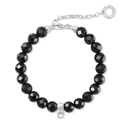 Ladies Thomas Sabo Sterling Silver Charm Club Obsidian Bracelet X0226-840-11-L18,5V