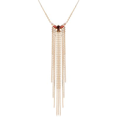 Ladies Juicy Couture Rose Gold Plated Fringe Forward Statement Necklace WJW86739-690