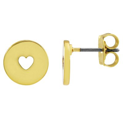 Ladies Juicy Couture Gold Plated Take Heart Expressions Stud Earrings WJW86799-712