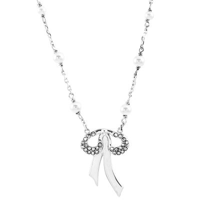 Ladies Juicy Couture Silver Plated Bows and Bling Wishes Necklace WJW86804-040