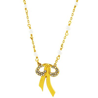 Ladies Juicy Couture Gold Plated Bows and Bling Wishes Necklace WJW86804-712