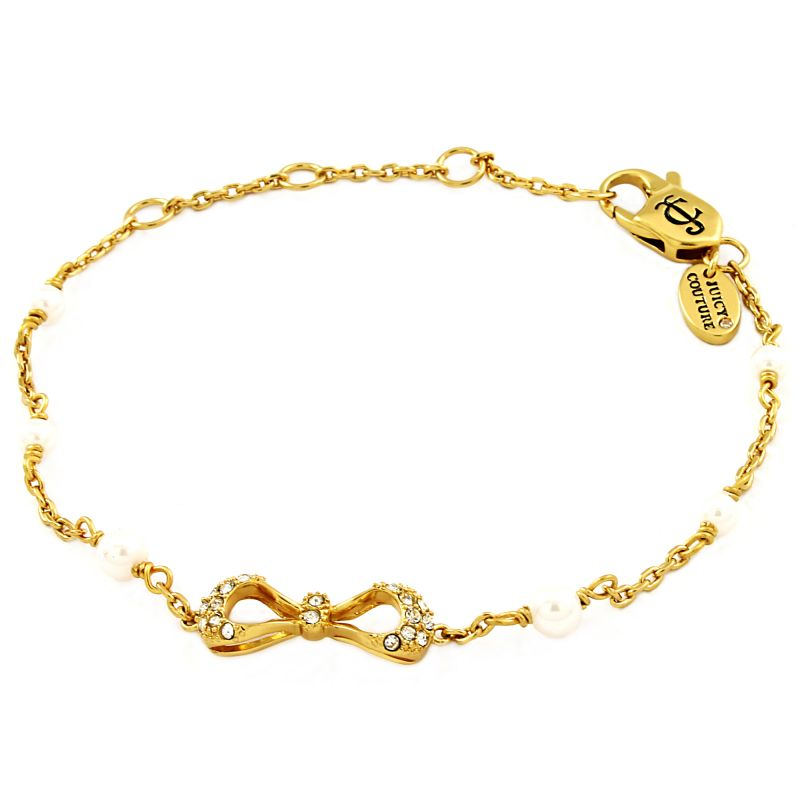 Ladies Juicy Couture Gold Plated Bows and Bling Wishes Bracelet WJW86855-712