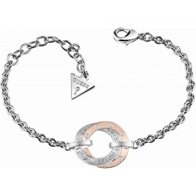 Ladies Guess Two-Tone Steel and Rose Plate E-Motions Bracelet UBB83068-L
