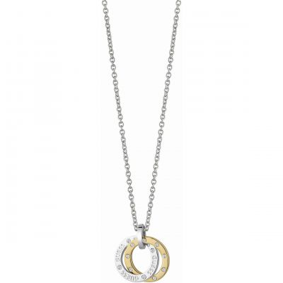 Ladies Guess Two-tone steel/gold plate E-Motions Necklace UBN83104