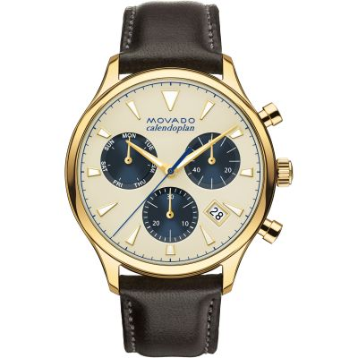 Mens Movado Heritage Series Calendoplan Chronograph Watch 3650007