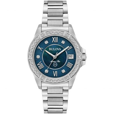 Ladies Bulova Quartz Marine Star Stainless Steel Watch 96R215