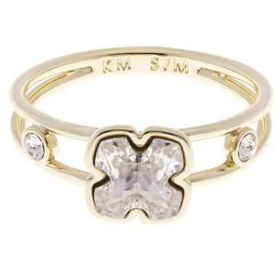 Karen Millen Dames Art Glass Flower Ring Size ML Verguld goud KMJ925-30-02ML