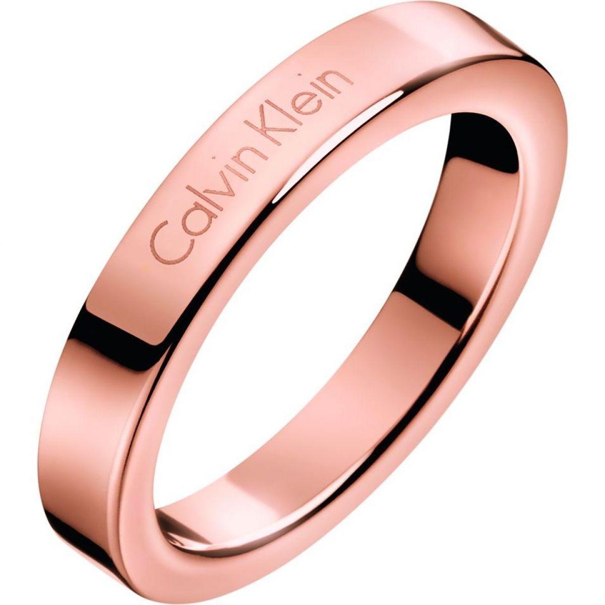 Ladies Calvin Klein Jewellery Rose Gold Plated Hook Ring ...