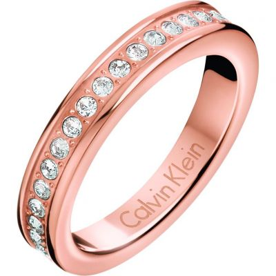 Calvin Klein Dames Hook Ring Size P Verguld Rose Goud KJ06PR140108