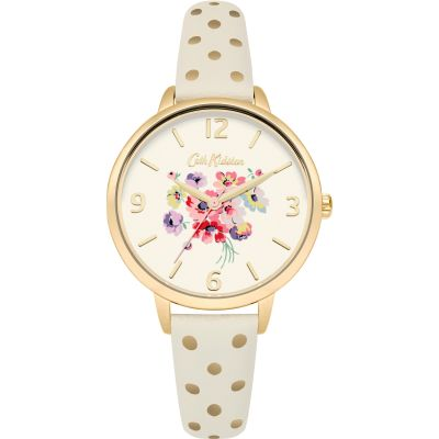 Ladies Cath Kidston Mallory Bunch Cream & Gold Spot Watch CKL004WG