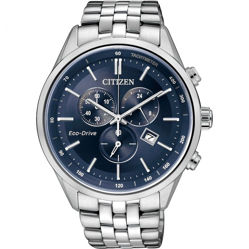 Mens Citizen Eco-drive Chronograph Wr100 Chronograph Stainless Steel Watch AT2141-52L