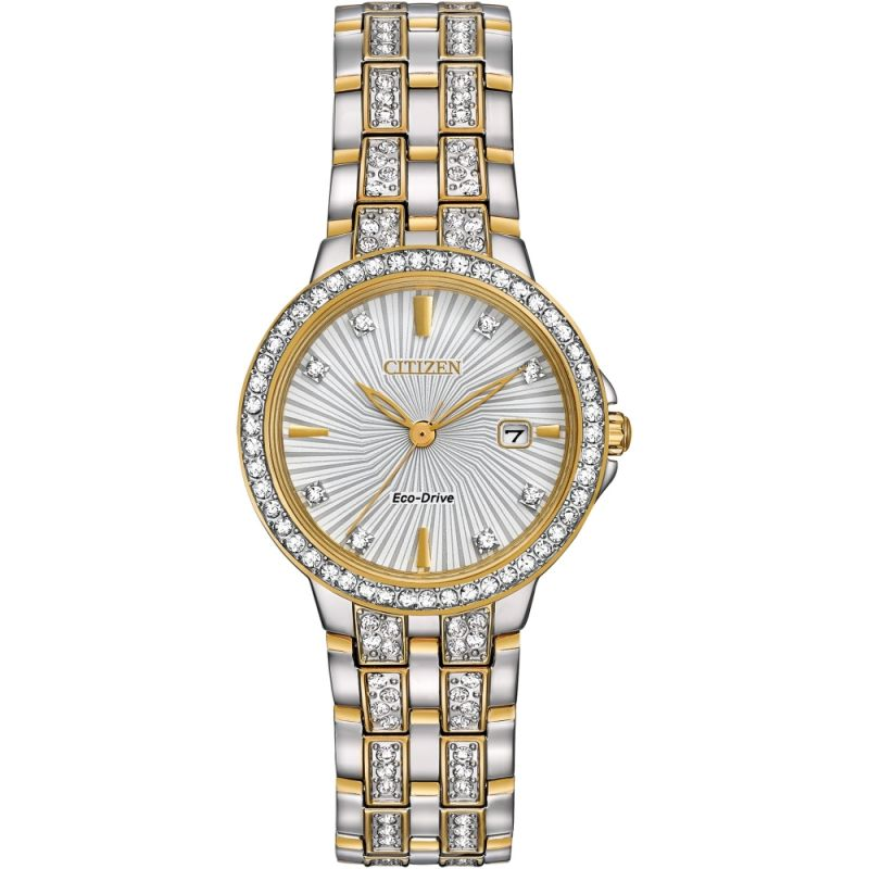 Ladies Citizen Eco-drive Silhouette Crystal Stainless Steel Watch EW2344-57A