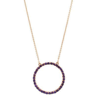 Ladies Lola Rose Sterling Silver Iolite Medium Circle Necklace R0017-30800