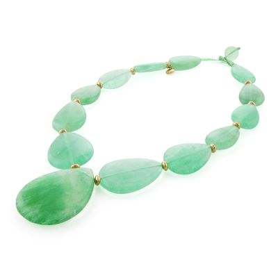 Ladies Lola Rose Gold Plated Belva Light Green Fluorite Necklace 630139
