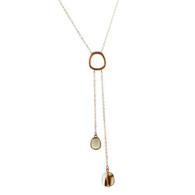 Ladies Lola Rose Rose Gold Plated Bassa Grey Moonstone & Montana Agate Lariat Necklace 610247