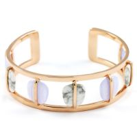 Lola Rose Dam Bassa Blue Lace Agate & White Howlite Bangle Roséguldspläterad 610094