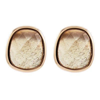 Ladies Lola Rose Rose Gold Plated Bassa Grey Moonstone Mini Facet Earrings 606486