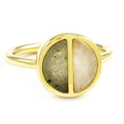 Ladies Lola Rose Gold Plated Garbo Labradorite Divided Circle Ring Medium 614375