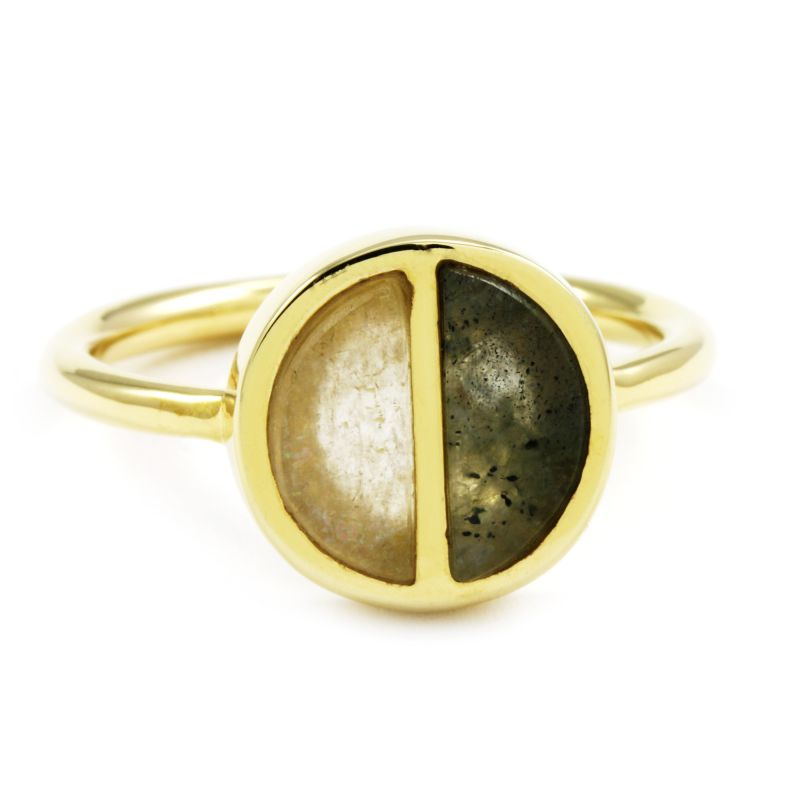 Ladies Lola Rose Gold Plated Garbo Labradorite Divided Circle Ring Large 614382