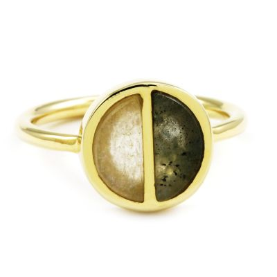 Lola Rose Dam Garbo Labradorite Divided Circle Ring Large Guldpläterad 614382