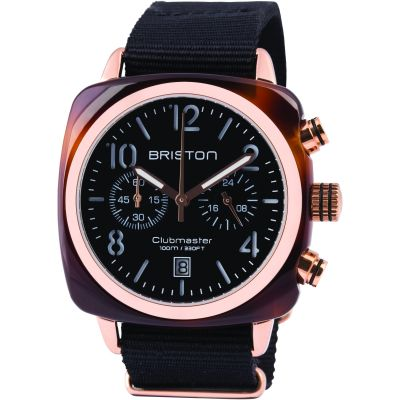 Mens Briston Clubmaster Classic Acetate Chronograph Watch 14140.PRA.T.1.NB