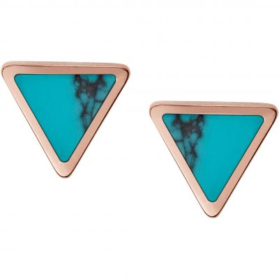 Ladies Fossil Rose Gold Plated Turquoise Stud Earrings JF02638791