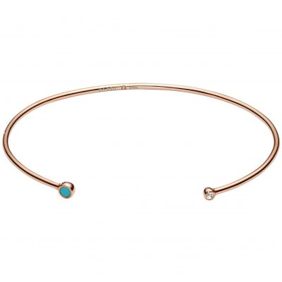 Fossil Dames Turquoise Torque Bangle Verguld Rose Goud JF02641791