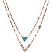 Ladies Fossil Rose Gold Plated Turquoise Multistrand Necklace JF02644791