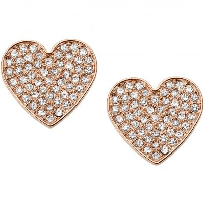 Fossil Dames Vintage Glitz Heart Earrings Verguld Rose Goud JF02676791