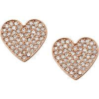 Ladies Fossil Rose Gold Plated Vintage Glitz Heart Earrings JF02676791
