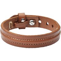 Mens Fossil Stainless Steel & Leather Bracelet JA6882040