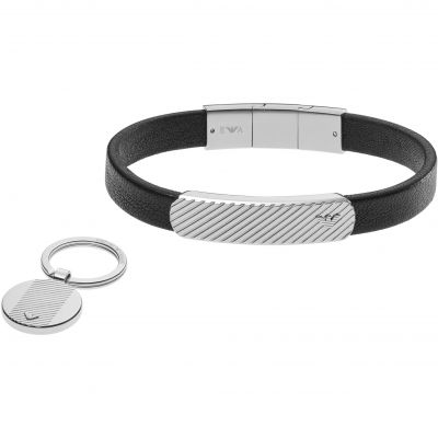 Mens Emporio Armani Stainless Steel Keyring Leather Bracelet Gift Set EGS2389040