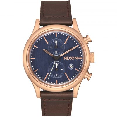 Mens Nixon The Station Chrono Leather Chronograph Watch A1163-2629