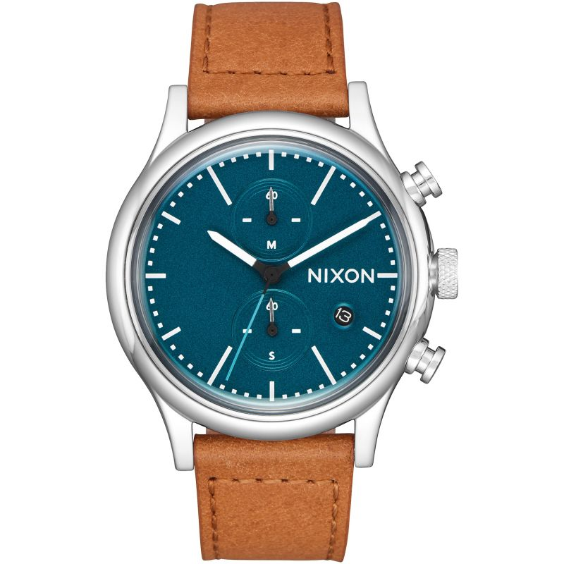 Mens Nixon The Station Chrono Leather Chronograph Watch
