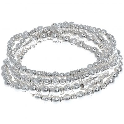 Ladies Nine West Silver Plated Stretch Bracelet 60457365-G03
