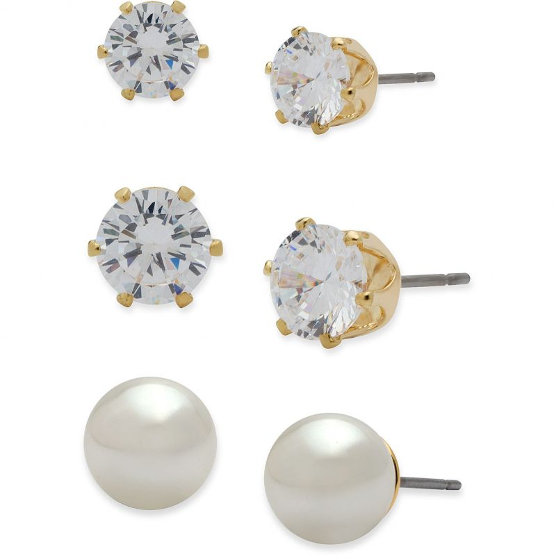 Ladies Anne Klein Gold Plated Set of 3 Stud Earrings