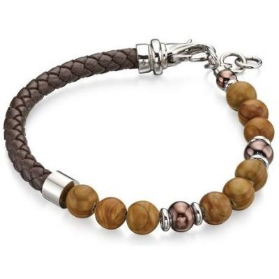 Fred Bennett Heren & Brown Bead Bracelet Verguld Zilver B4872