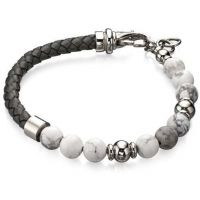 Mens Fred Bennett Silver Plated & Grey Bead Bracelet B4870