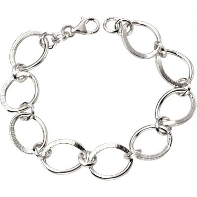 Ladies Beginnings Sterling Silver Wide Link Bracelet B4904