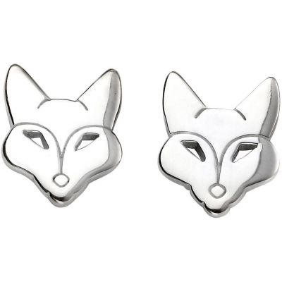 Ladies Beginnings Sterling Silver Fox Earrings E5425